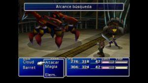 Lucha contra el cangrejo Final fantasy VII PlayStation Classic