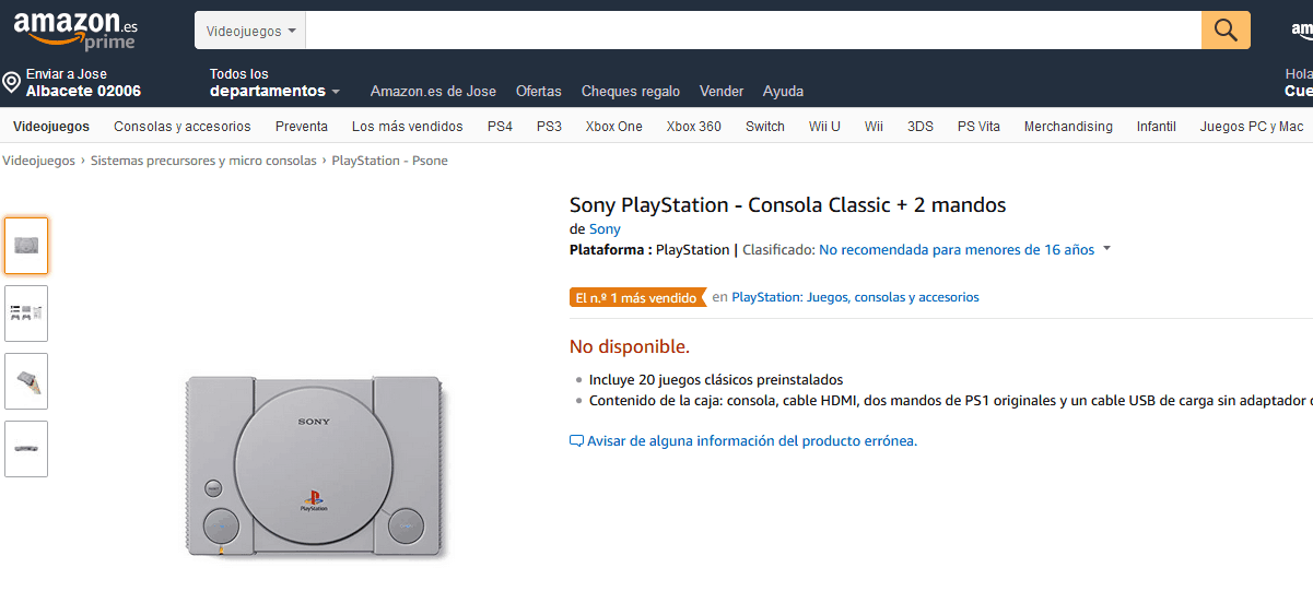 playstation Classic mas vendida en España amazon