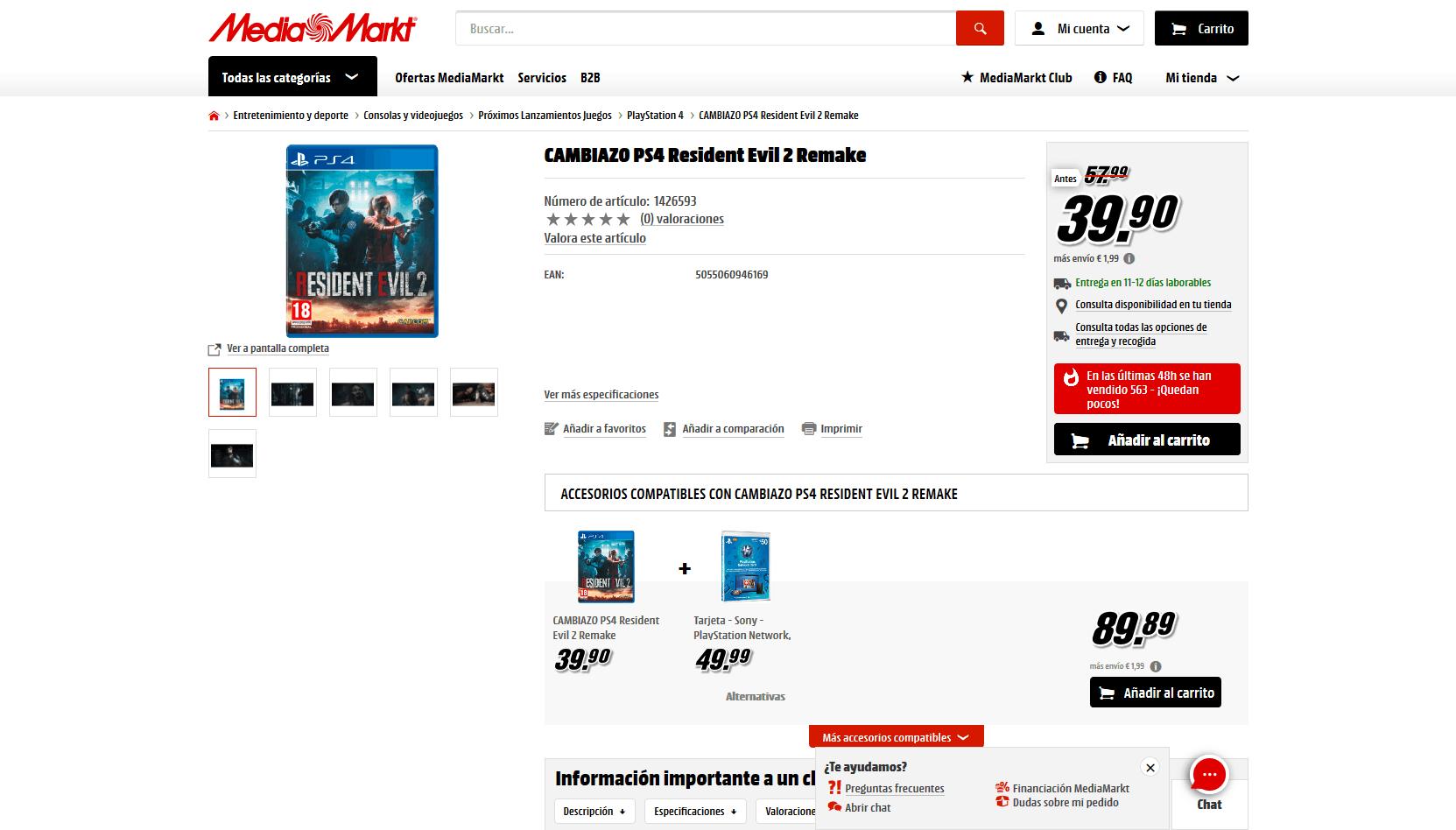 Cambiazo en Media Markt para Resident Evil 2 Remake por 39.90€