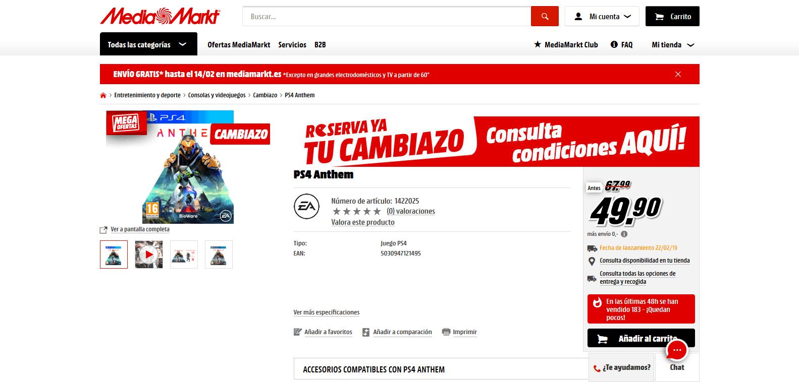 Cambiazo Media Markt para Anthem por 49.90€