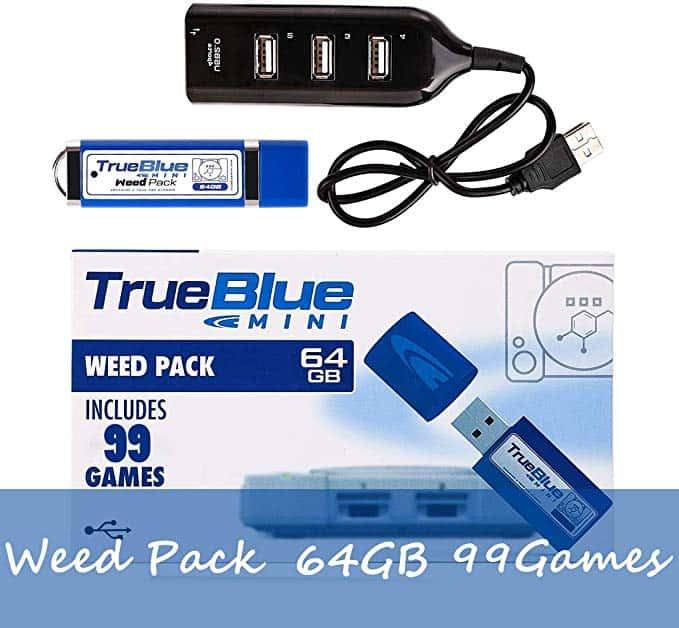 True Blue Mini Weed Pack con 64G 99 Juegos para Playstation Classic