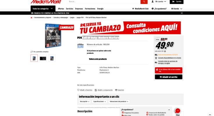 Cambiazo PS4 Call Of Duty Modern Warfare
