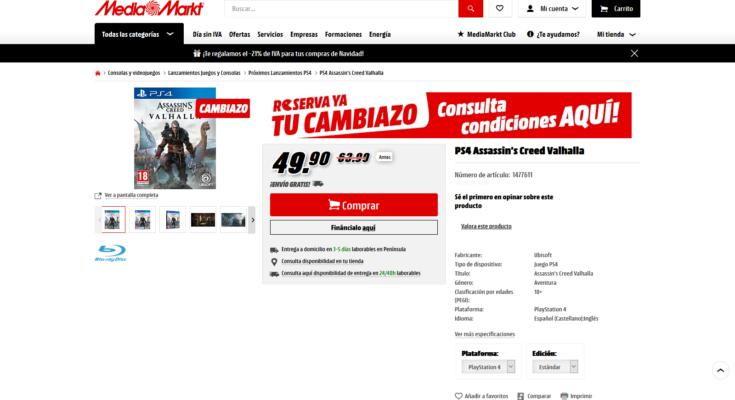 Cambiazo Media Markt PS4 Assassin's Creed Valhalla